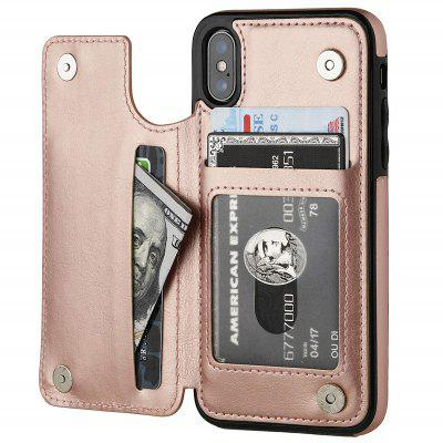 Phone Case with Card Holder Double Magnetic Clasp for iPhone Xs / X
