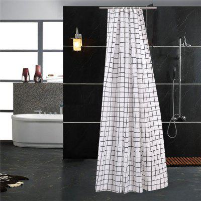 Waterproof Mildew-Proof Black and White Checked Bathroom Curtain Partition