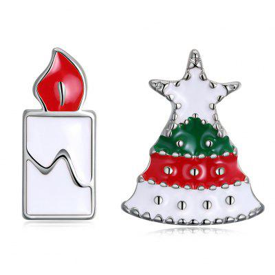 Christmas Oil Dripping Christmas Tree Candle Earring Plated with Platinum