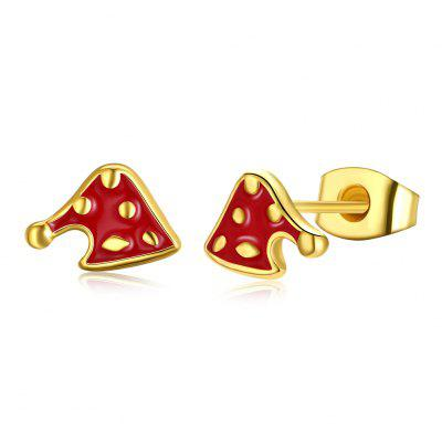 Christmas Oil Dripping Christmas Cap Earring Plated with Gold