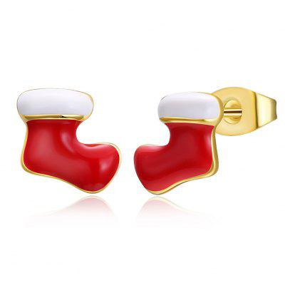 Christmas Oil Dripping Christmas Socks Earrings Plated with Gold
