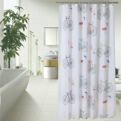 Waterproof and Mildew-Proof Bicycle Pattern Bath Curtain Bathroom Partition