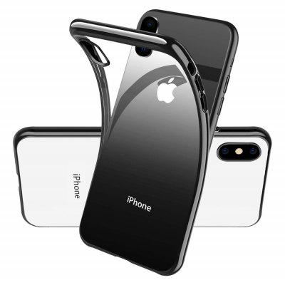 Electroplated Frame Soft TPU Silicone Phone Case Cover for iPhone X XS