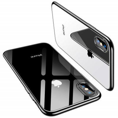 Electroplated Frame Soft TPU Silicone Phone Case Cover for iPhone  XS Max