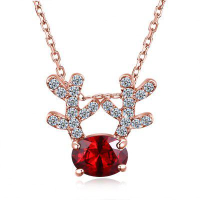 Christmas Zircon Deer Necklace Red/Rose Gold