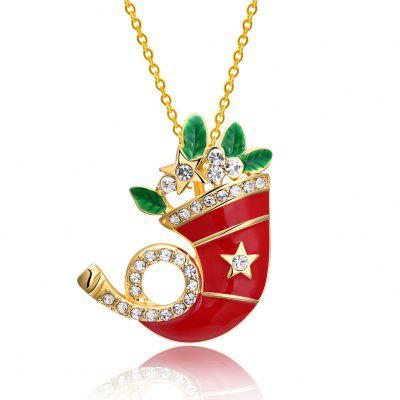 Christmas Dripping Oil Santa Hat Necklace White/Gold Plated