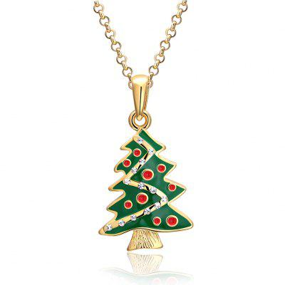 Christmas Dripping Oil Christmas Tree Necklace White/Gold Plated