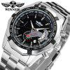 Winner 340-T Men'S Fashion Hollow Calendar Luminous Automatic Mechanical Watch - BLACK