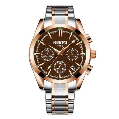NIBOSI 2310  Military Watch Full Steel Quartz Clock Auto Date Men Business Watch