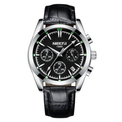 NIBOSI 2310-PD Military Watch Business Couro Assista Sport Waterproof WristWatch
