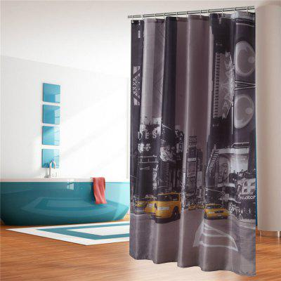 Waterproof Mould Proof Shower Curtain Polyester Bathroom Partition Streetscape
