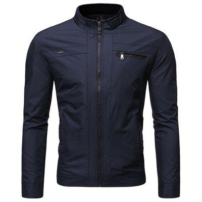 Men's  Autumn and Winter Solid Color Stand Collar Business Casual Jacket