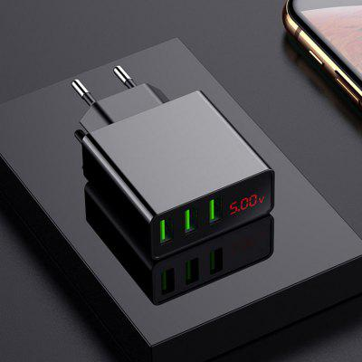 Mini LED Display European Standard 3-PORT USB Digital Display Fast Charger 5V 3A