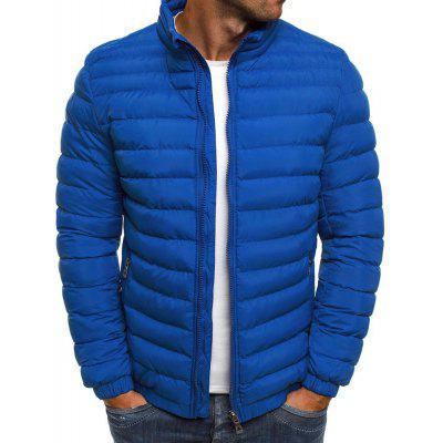 Men's  Winter Simple Fashion Solid Color Hooded Padded Clothes