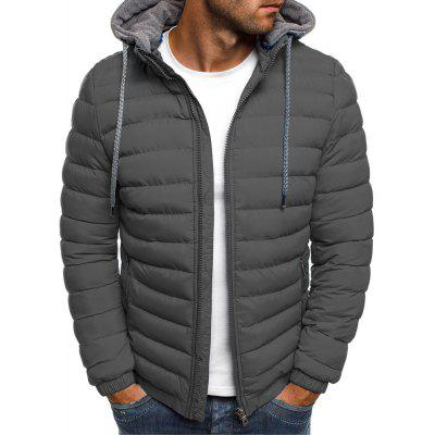 Men's  Winter Simple Solid Color Hooded Atmospheric Cotton Clothes