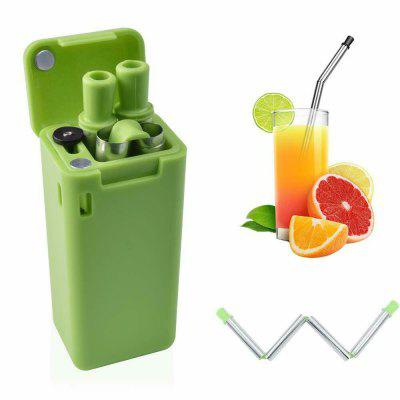 Reusable Collapsible Drinking Straws Stainless Steel Metal Straw Foldable