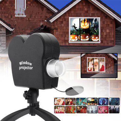 Mini Holiday Video Window Projector Lamp Halloween Vianočné Light 12 filmov