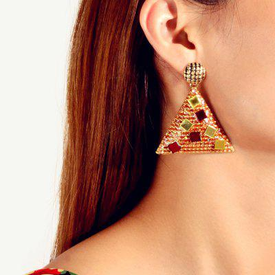 Fashion Gold Red Triangle Metal Glitter Pendant Earrings 1Pair