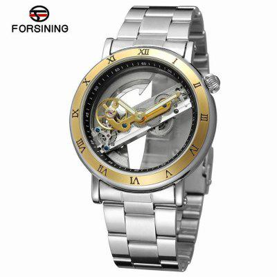 FORSINING F9005 Steel Belt Hollow Leisure Waterproof Automatic Mechanical Watch