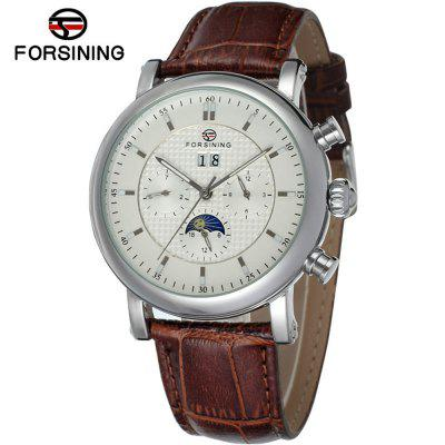 Forsining F553 férfi bőr alkalmi Calendar Automatic Business Mechanikus Watch