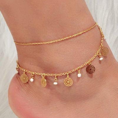 Fashion Gold Multi-layer Hollow Round Pendant Anklet 1PC