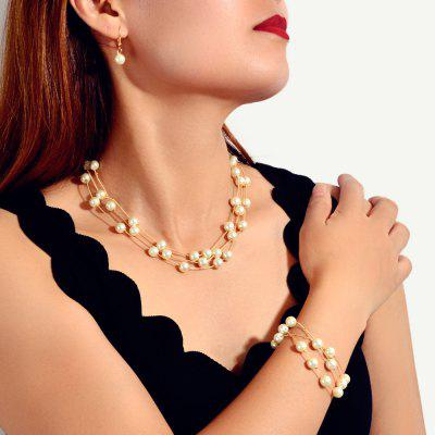 Mode d'oreilles en or Collier multi-couche Bracelet de perles Set