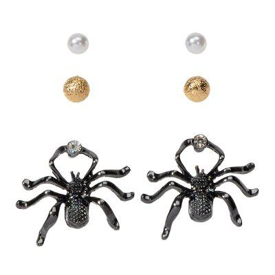 Fashion Black Big Spider Pearl Alloy Stud Earrings Set