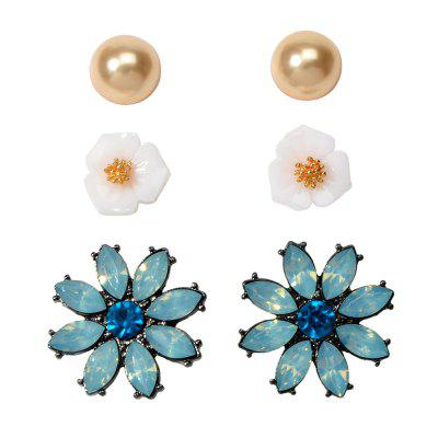 Moda Flash azul Diamante Resina Flor Stud Brincos Set
