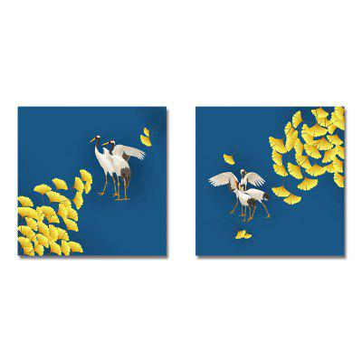 Ginkgo Leaf and Crane Print Art 2PCS