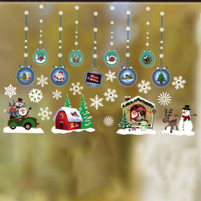 Christmas Hanging Ball Snowman Snowflake Static Decoration Removable Sticker