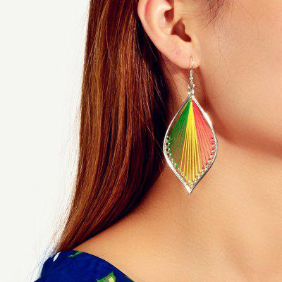 Fashion Color Hollow Cotton Thread Winding Geometric Pendant Earrings