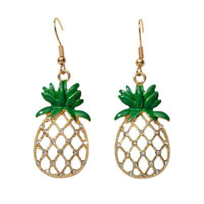 Fashion Gold Pierced Full Diamond Pineapple Pendant Earrings
