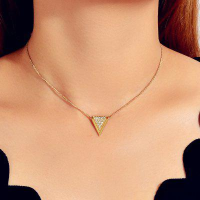 Fashion Gold Inverted Triangle Full Diamond Pendant Necklace