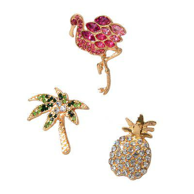 Fashion Color Full Diamond Flamingo ananas Coconut Tree Set Broche