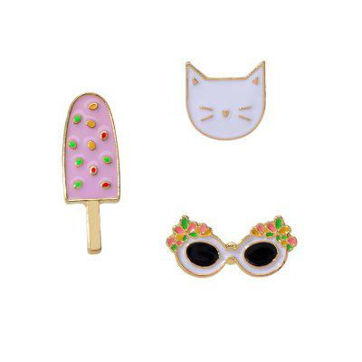 Mode Rose Drops Ice Cream Cat lunettes de soleil Ensemble de broche