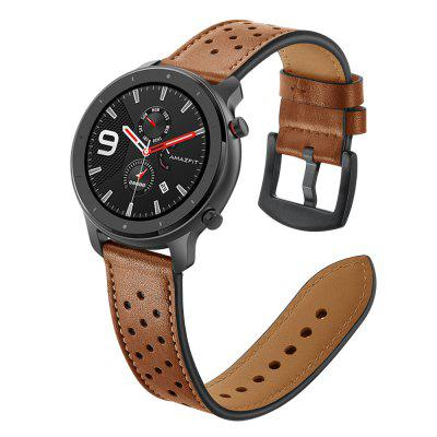 20/22mm Genuine Leather Ventilation Wrist Strap For Huami Amazfit GTR 42/47mm