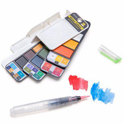 18 Assorted Colors Foldable children Paint Set with Water Brush