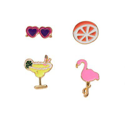 Fashion Multicolor Drops Flamingo Fruit Glass Sunglasses Brooch Set