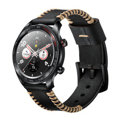 Ribs Style Genuine Leather Watch Band For Huawei Honor Magic Wrist Strap