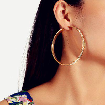 Fashion Exaggerated Gold Full Diamond Circle Earrings