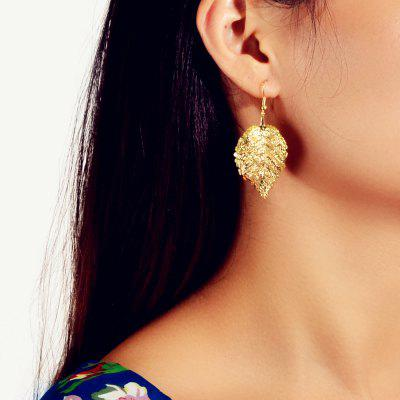 Fashion Golden Simulation Leaf Pendant Earrings