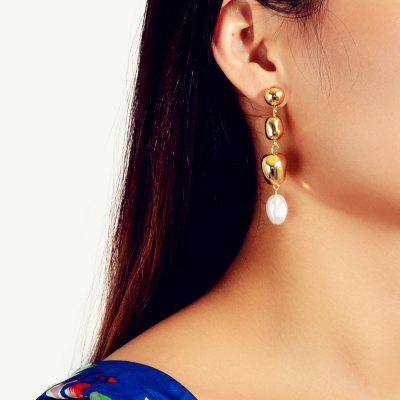 Fashion Gold Irregular Pearl Pendant Earrings