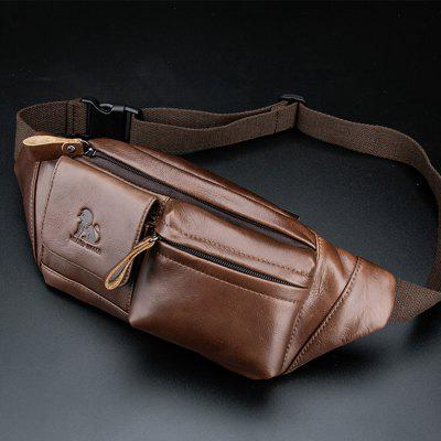 LAOSHIZILUOSEN Leather Waist Bag Men'S Head Leather Fashion Retro Chest Bag