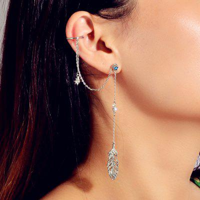 Fashion Silver Leaf Full Diamond Pendant Ear Hook (single)
