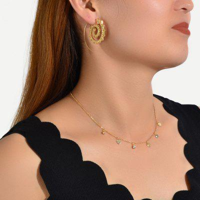 Fashion Gold-tone Heart-shaped Earrings and Gold-tone Diamond Necklace