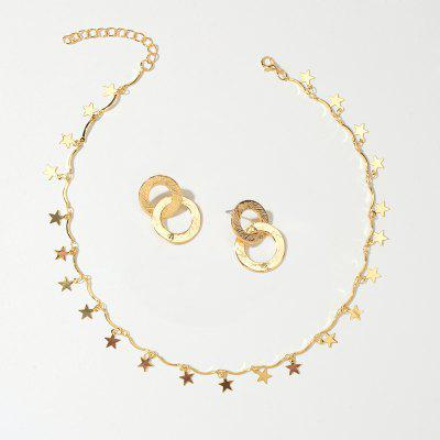 Fashion Gold Star Chain Necklace and Gold Round Ring Pendant Earrings