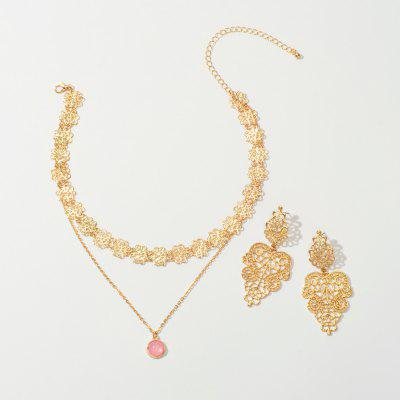 Fashion Gold Openwork Pendant Necklace And Gold Flower Cutout Earring