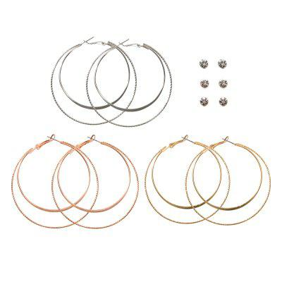 Fashion Gold and Silver Rose Gold Circle Earrings Set