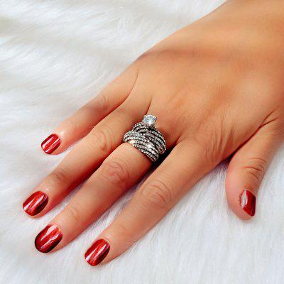 Fashion Full Crystal Silver Large Diamond Ring Set