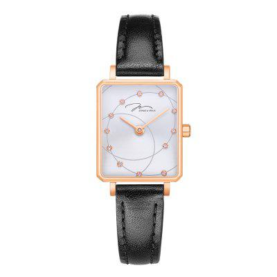 JONAS VERUS Women Fashionable Quartz Watch with Rectangular Dial and Black Strap
